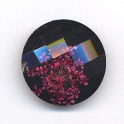 knoop 24 mm zwart met bloem - 562340