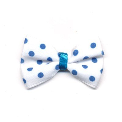 Strikje met stip aqua blauw 2 stuks