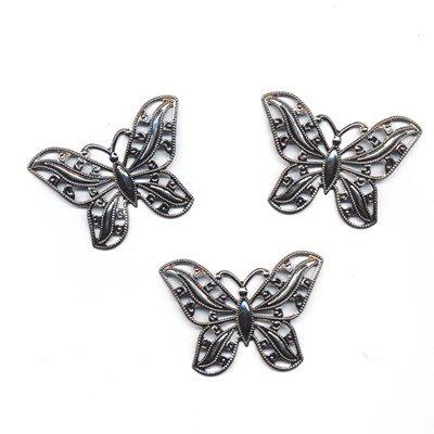 Ornament vlinder 52 a 38 mm antiek zilver 2 stuks op=op
