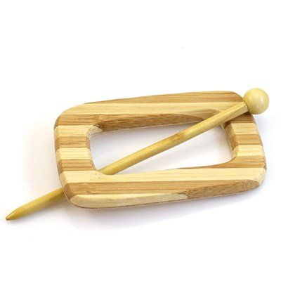 Sluiting met speld rechthoek 100 mm - hout in streep