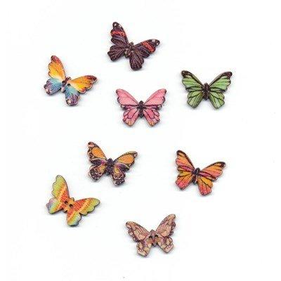 Knoop 25 mm vlinder gekartelde vleugels hout op=op