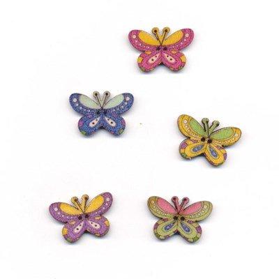 Knoop 25 mm vlinder ronde vleugels hout op=op
