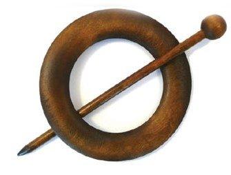 Sluiting met speld rond 80 mm - bruin donker hout