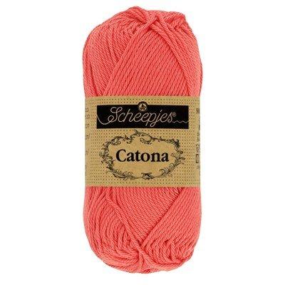 Scheepjes Catona 252 water melon 50 gram - oranje rood
