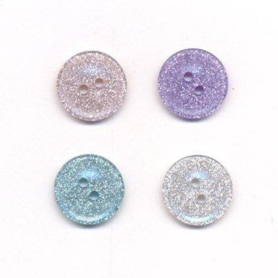 Knoop 15 mm glitter poeder roze op=op