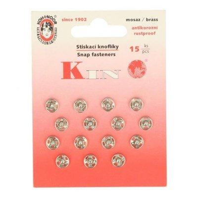 Drukknoop 7 a 8 mm nickel 15 stuks