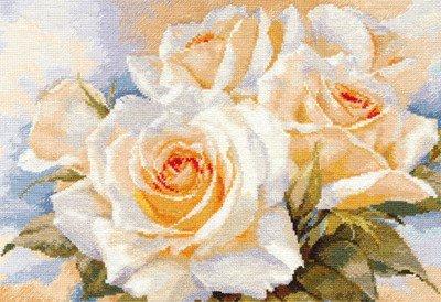 Borduurpakket bloemen Witte rozen AL02032 OP=OP