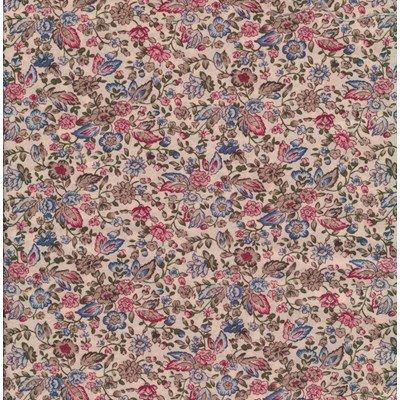 Tissu de Marie - ecru met bloemen rood blauw per 50 cm