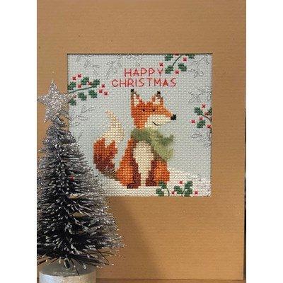 Borduurpakket kerstkaart - Xmas fox