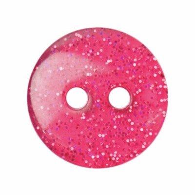 Knoop 13 mm rond glitter roze