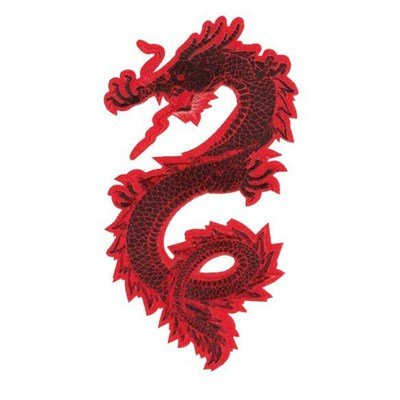 Applicatie draak 13 a 7,5 cm rood links 36492