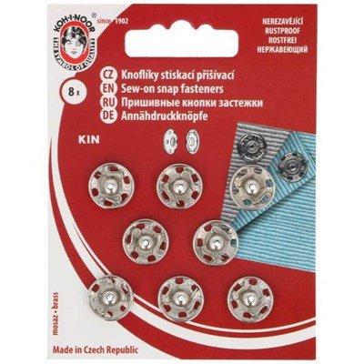 Drukknoop 12 mm zilver 8 stuks