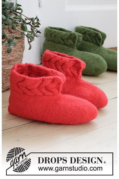 Viltnaald patroon Pantoffels