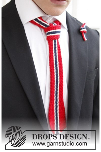 Breipatroon Gebreide stropdas en strik in nationale kleuren van Safran