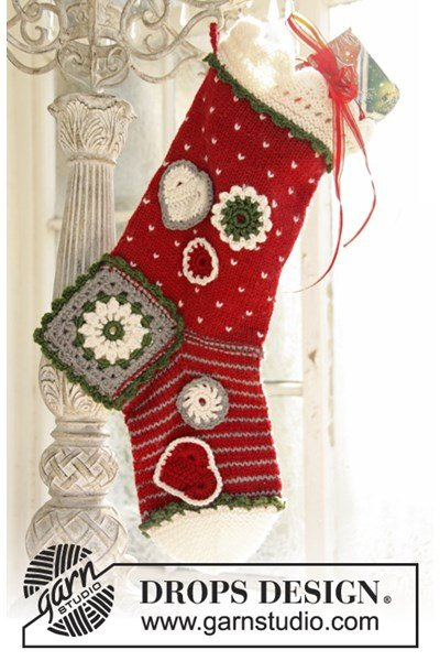 Brei- en haakpatroon Gebreide en gehaakte Kerst sok