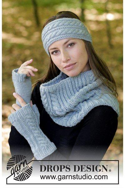 Breipatroon haarband, halswarmers en vingerloze handschoenen