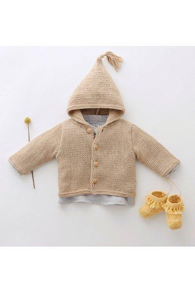 Breipatroon Baby vest met capuchon
